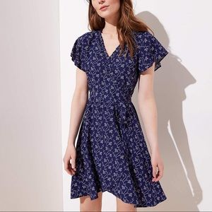 Loft garden ruffle belted wrap dress